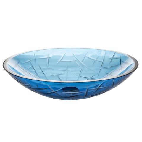 Eden Bath Blue Crystal Oval Glass Vessel Sink