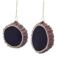 """Pack of 12 Tree Stump Chalkboard Glass Christmas Ornaments 3""""-3.5"""" - brown"""