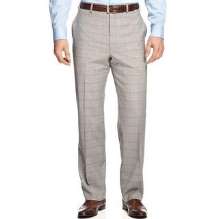 Shaquille O'Neal Plaid Wool Flat Front Dress Pants Light Grey 38 x 30