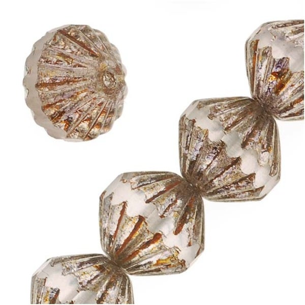 Czech Glass Fluted Cathedral Beads 9mm Crystal/Topaz Luster (12 Beads)