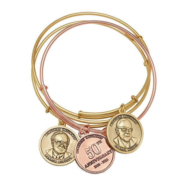 Chrysalis Berkshire Hathaway Bangle Bracelet Set in 14K Rose & Yellow Gold-Plated Brass - Two-tone