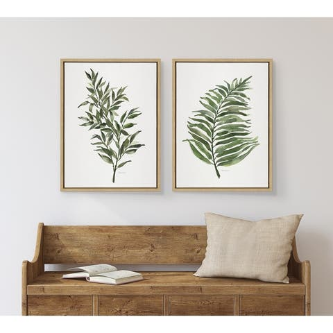 Kate and Laurel Sylvie Green Fern Framed Canvas by Patricia Shaw