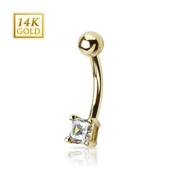 "14 Karat Solid Yellow Gold Princess Cut Square CZ Prong Navel Belly Button Ring - 14GA 3/8"" Long"