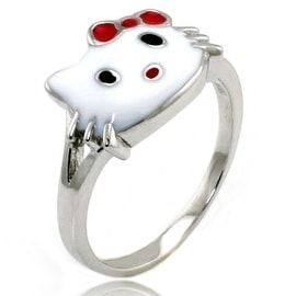 Sterling Silver Cute Kitty Gloss Ring