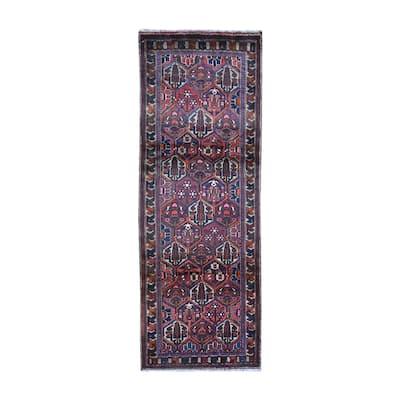 "Shahbanu Rugs Wide Runner Vintage Persian Bakhtiar with Garden Design Red Pure Wool Oriental Rug (3'8"" x 9'8"") - 3'8"" x 9'8"""