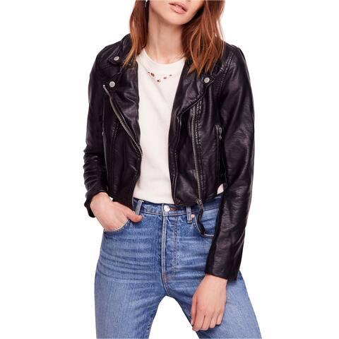 Free People Womens Heartache Motorcycle Jacket, black, Large