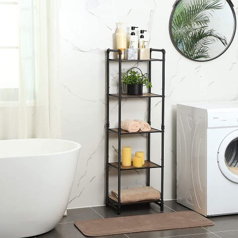 Bathroom Shelf, 5-Tier DIY Storage Rack, Industrial Style Extendable Plant Stand with Shelf