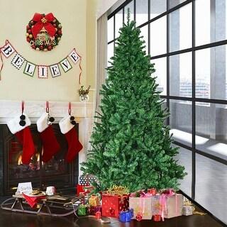 Costway 7' PVC Artificial Christmas Tree Premium Hinged w/ Solid Metal Legs 1200 Tips