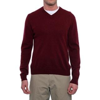 Qi New York Long Sleeve V-Neck Sweater Men Regular Sweater Top