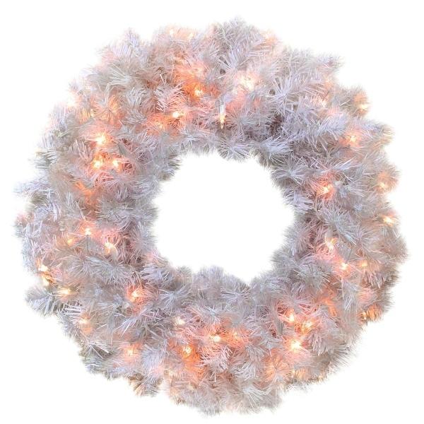 "24"" Pre-Lit White Cedar Pine Artificial Christmas Wreath - Clear Lights"