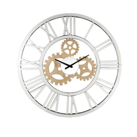 Round Mirror Panel Open Frame Wall Clock with Gear Design, Silver