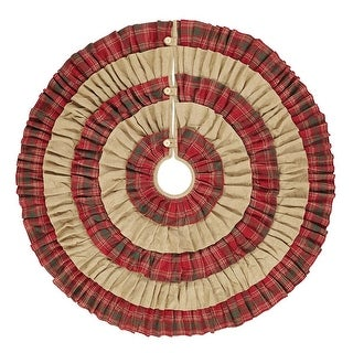 VHC Brands Whitton Ruffled Christmas Tree Skirt Natural Burlap / Red Green Plaid