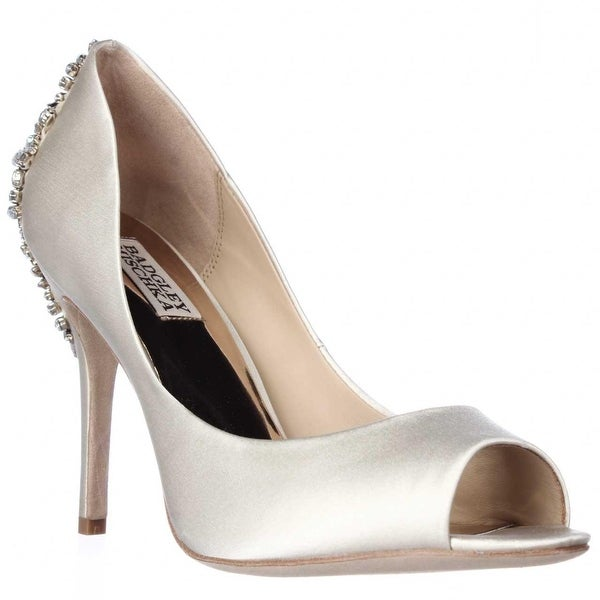Badgley Mischka Nilla Peep Toe Jewled Heel Dress Pumps, Ivory