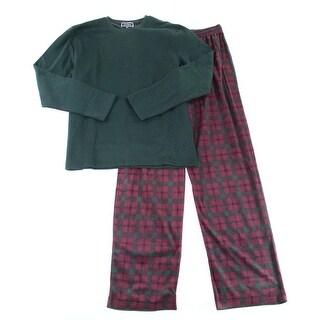 $50 Club Room Mens Pajama Pant Blue Gray Plaid Fleece Lounge Sleepwear Size 2xl