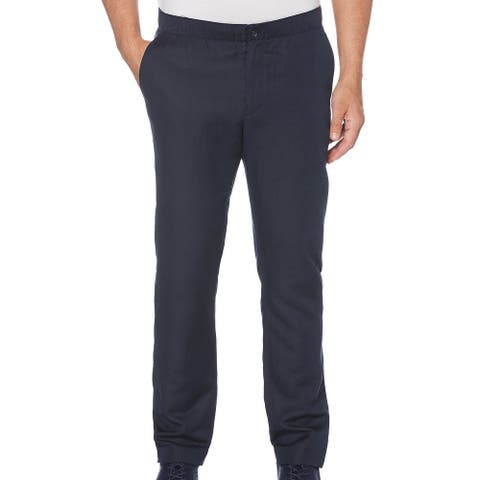 Perry Ellis Mens Pants Navy Blue Sz 40x32 Slim Fit Drawstring Flat Front