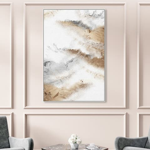 Oliver Gal 'Brianna Majestic' Abstract Wall Art Framed Canvas Print Brush Strokes- White, Gray