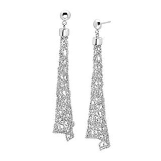 Beaded Mesh Drop Earrings in Sterling Silver - White
