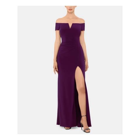 XSCAPE Womens Purple Short Sleeve Maxi Sheath Evening Dress Size 6