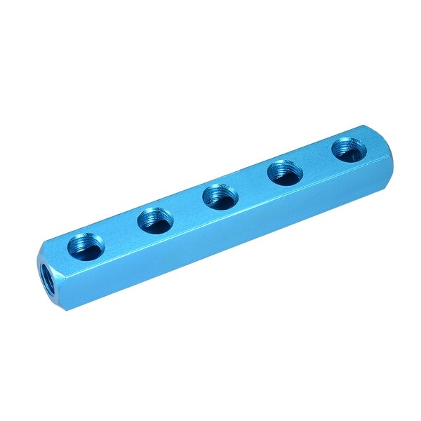 "1/4"" G Thread Pneumatic 8 Port 5Way Air Hose Inline Manifold Block Splitter - 8Ports 5 Ways 1/4"" G"