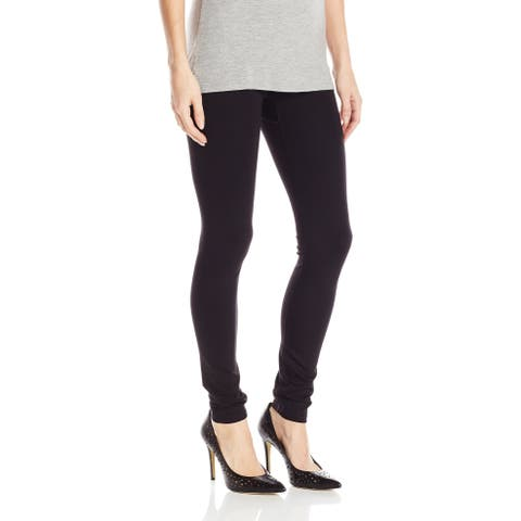 Hue Womens Leggings Deep Black Size Medium M Double Knit Ankle Stretch