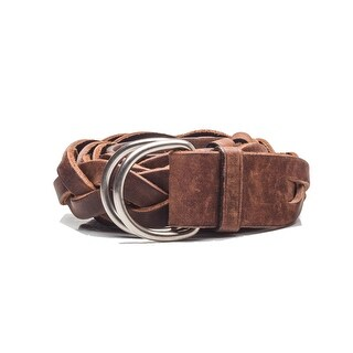 Prada Women's Vintage Braided D-Ring Calf Leather Belt Brown