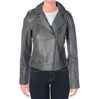 Lucky Brand Womens Motorcycle Jacket Faux Leather Moto