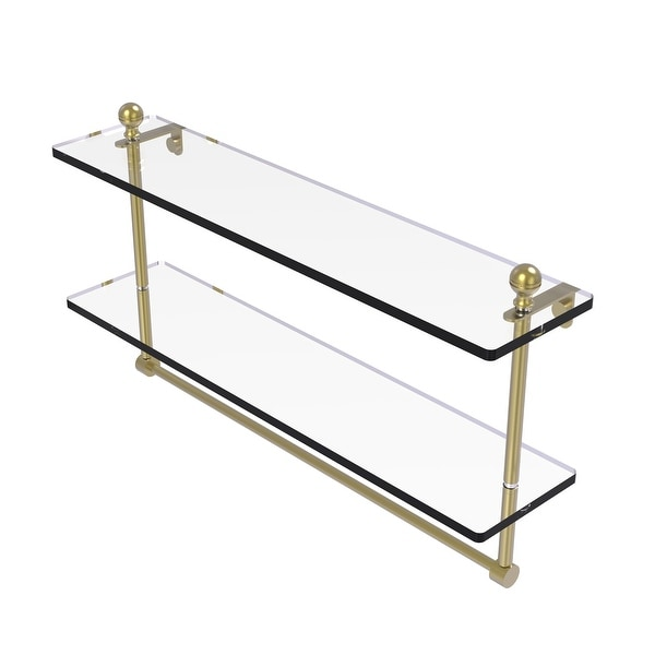 Allied Brass Mambo Collection Two Tiered Glass Shelf with Integrated Towel Bar