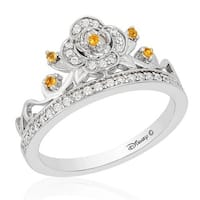 Enchanted Disney Fine Jewelry  0.2CT Belle Silver Rose 7 in. Ring