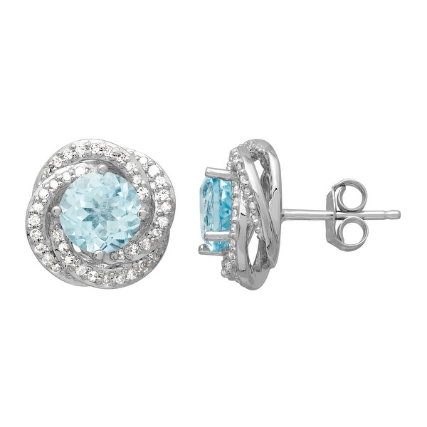 2 ct Natural Sky Blue Topaz & 1/4 ct Diamond Stud Earrings in 14K White Gold