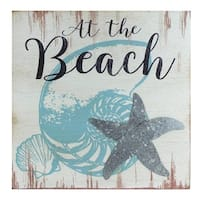 "8"" Decorative ""At the Beach"" with Seashells and Starfish Distressed Wooden Wall Plague - White"