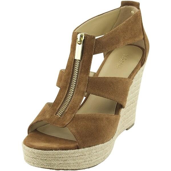 MICHAEL Michael Kors Womens DAMITA Leather Open Toe Casual Platform Sandals