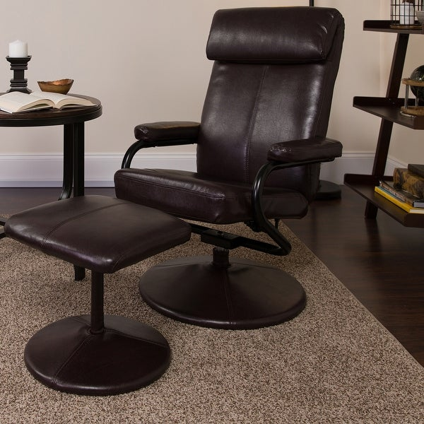 Contemporary Multi-Position Headrest Recliner and Ottoman with Wrapped Base. Opens flyout.