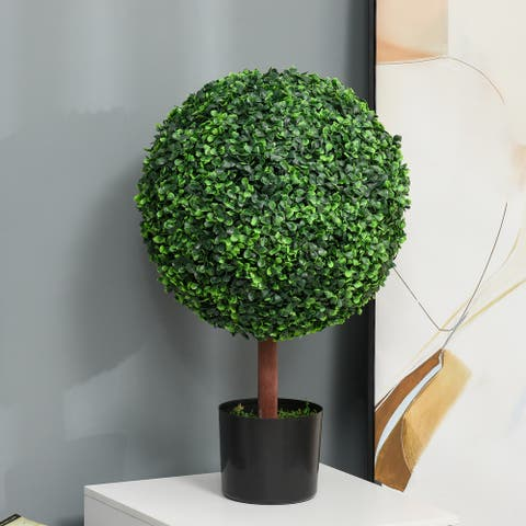 """Outsunny 23.5"""" Artificial Boxwood Topiary Tree Plant with Realistic Look, High-Quality Color, & Nursery Pot Included"""
