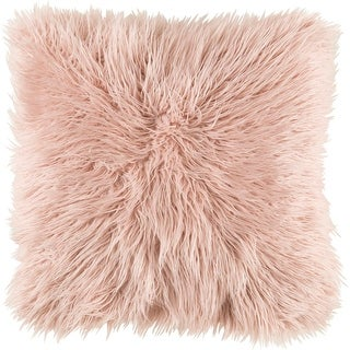 """18"""" Brown Faux Fur Designed Square Throw Pillow with Knife Edge - Down Filler"""