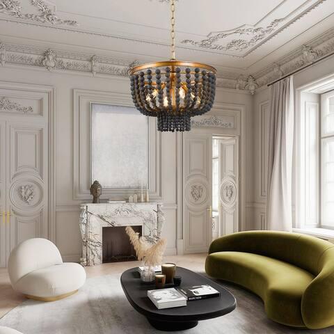 "Boho Glam 4-light Wood Beads Chandelier Hanging Pendant for Living/ Dining Room - 15.5""D x 13.3""H"
