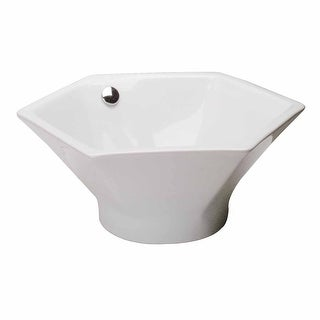 Bathroom Vessel Sink White China Porcelain Hexagon | Renovator's Supply