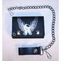 Flying Eagle Trifold Motorcycle Biker Wallet Chain Bird Eagles Mens New Wallets