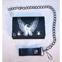 Flying Eagle Trifold Motorcycle Biker Wallet Chain Bird Eagles Mens Wallets