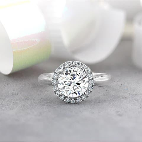 Auriya 14k Gold 1 5/8ct TW Moissanite Halo Diamond Engagement Ring 1/4ctw