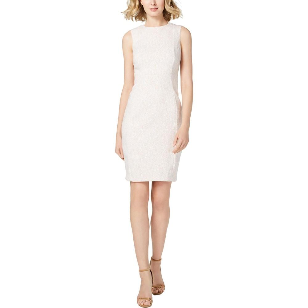 Calvin Klein Womens Sheath Dress Sleeveless Print - Pink/White