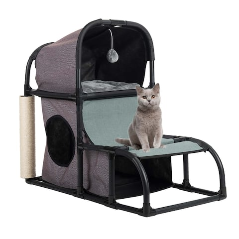 CO-Z Cat Tower/ Cat Tree Kitten Condo Bed Duplex with Scratching Post & Dangling Toy