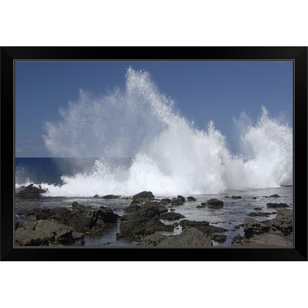"""Rocks and splashing waves"" Black Framed Print"