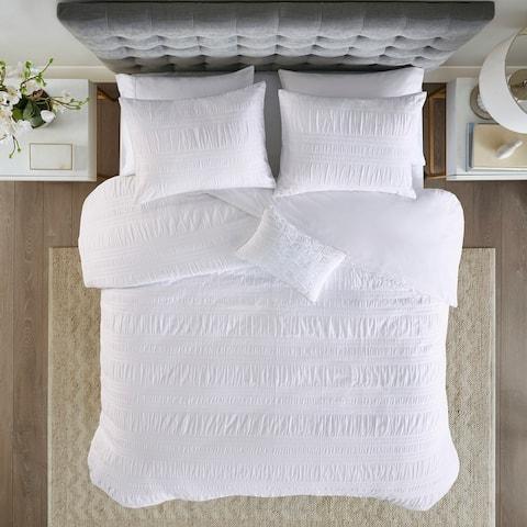 Madison Park Kate White Cotton Seersucker Duvet Cover Set