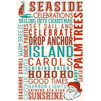 Seaside, CA - Christmas Typography - LP Artwork (100% Cotton Towel Absorbent)