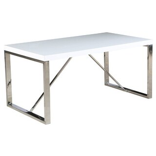 2xhome Modern Mid Century White Glossy Paint Wood top Silver Chrome Steel Leg Base Rectangle Dining Table Home Office Restaurant