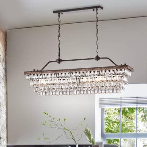 Antique Bronze 6-Light Rectangular Kitchen Island Lighting with Crystal Hanging - Antique Bronze