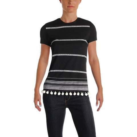 Lauren Ralph Lauren Womens Pullover Top Beaded Embroidered