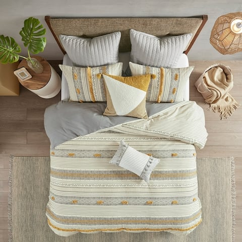 INK and IVY Cody Gray/ Yellow Cotton Duvet Cover Set