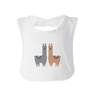 Llama Pattern Baby Burp Bib Gift White