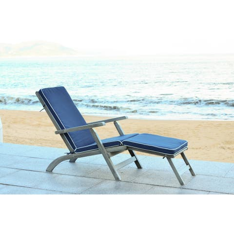Safavieh Outdoor Living Palmdale Grey/ Navy Lounge Chair